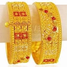 22k gold three tone kada 2 pcs gold bangles in 2019 gold bangles gold bangles design