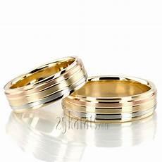 hh tt232 18k gold grooved tri color fancy designer wedding ring