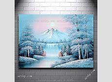 Waterfall And Snow Covered Trees Mountain Oil Painting