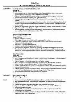 trainer sales resume sles velvet jobs