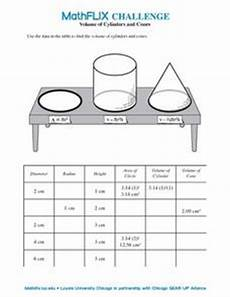 volume of cylinders and cones 7th 8th grade worksheet lesson planet