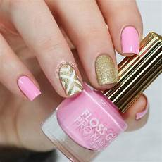 nailsbyerin pink and gold nails mani swap with julie