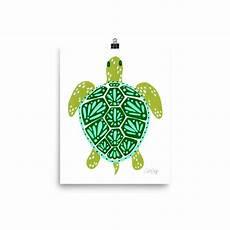 sea turtle green palette art print palette art turtle painting green palette