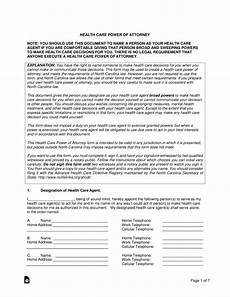 free carolina health care power of attorney form pdf word eforms free fillable forms