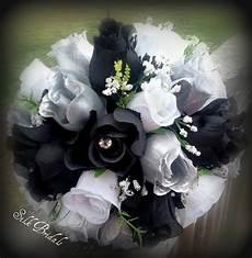 black white silver roses bridal bouquet bridesmaid silk