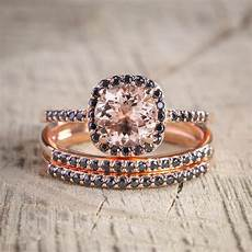 sale 2 50 carat morganite and black diamond trio wedding bridal ring in 10k rose gold with