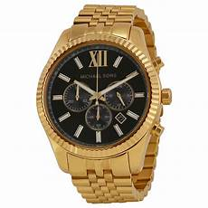 michael kors chronograph black gold tone