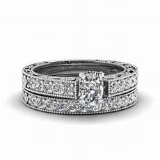cushion cut milgrain pave diamond wedding ring sets in 14k