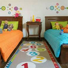 Unisex Shared Bedroom Ideas bright colours in unisex bedroom ikea rug and