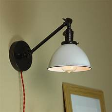 industrial wall l articulating wall sconce steunk light white porcelain enamel shade