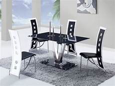 Kitchen Table Sets Michigan by Fixed Black Glass Top Leather Dinette Tables And Chairs
