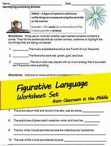 poetry imagery worksheet 25307 figurative language and imagery worksheet set middle school writing figurative language