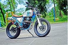 Biaya Modifikasi Scorpio Scrambler by Foto Modifikasi Yamaha Scorpio Gaya Scrambler Putih Bersih