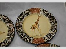 Decor Set of 4 Plates Animal Print Safari Lion Elephant