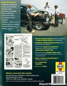automotive repair manual 1989 suzuki sidekick free book repair manuals suzuki samurai sidekick x 90 vitara chevrolet geo tracker 1986 2001 haynes repair manual