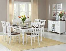 Cottage Dining Room Furniture casual cottage style white dining table 6 chairs dining
