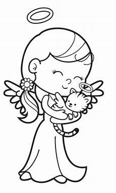 kostenlose malvorlage engel engel mit engel katze zum