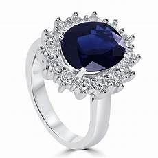 14k white gold oval sapphire diamond halo engagement ring
