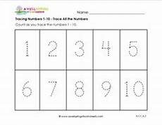 tracing numbers 1 10 trace all the numbers kindergarten numbers