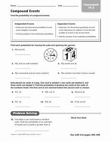 compound probability worksheets 7th grade 6017 compound events finding the probability worksheet for 6th grade lesson planet