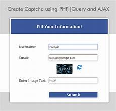 captcha code in php and jquery formget