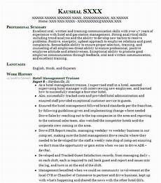 hotel management trainee resume sle trainee resumes