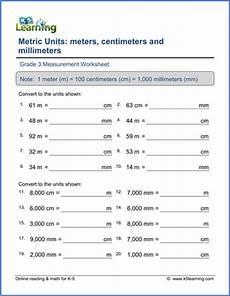 measurement worksheets cm mm m 1392 grade 3 math worksheet convert lengths between m cm and mm k5 learning