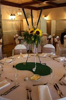 sunflowers and golf clubs so fun for a golf themed wedding flowerno5 com centerpiece