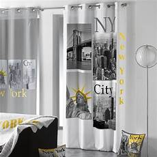 rideaux chambre ado rideau 140 x h260 cm ny yellow blanc rideau voilage