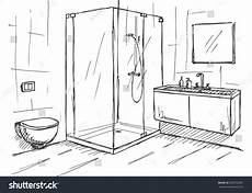 Bathroom Ideas Drawing by Sketch Linear Sketch Of An Interior Part Of