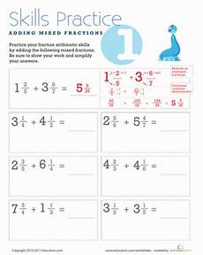 adding mixed fractions worksheet education