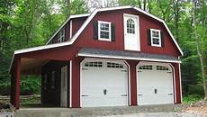 Gambrel Apartment Garage Plans by 24 X 28 Raised Roof Gambrel Garage With 8 Overhang In