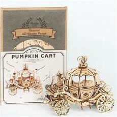 Newest Wooden Puzzle Assembly Gift Children by Robotime New Arrival Diy 3d Gramophone Box Pumpkin Cart
