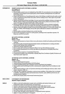 quality control auditor resume sles velvet