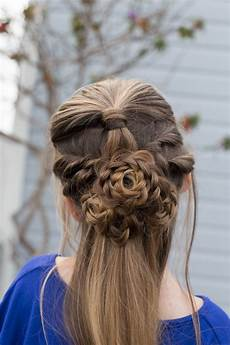 flower half up cute girls hairstyles