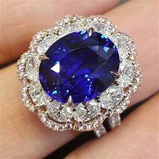 large blue stone floral rings for women wedding ladies accessrioes ring silver color crystal