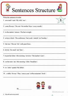 sentence structure 1 worksheet free esl printable