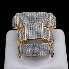 diamond wedding 14k yellow gold trio his and bridal band engagement ring ebay