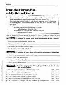 prepositional phrases used as adjectives and adverbs worksheet for 6th 7th grade lesson planet