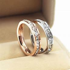 silver rose gold cz titanium steel ring women s stainless wedding band size 3 10 ebay