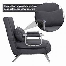 homcom fauteuil chauffeuse canap 233 lit convertible 1 place