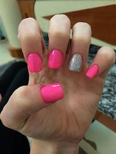 hot pink with glitter ring finger nail ideas pinterest