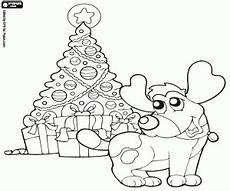 ausmalbilder der hund mit weihnachten tanne zum ausdrucken