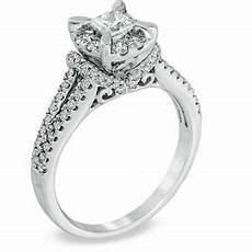 1 ct t w princess cut diamond vintage style engagement ring in 14k white gold diamond rings