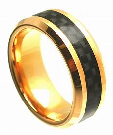 8mm tungsten carbide beveled edge gold plated with black carbon fiber inlay wedding band ring
