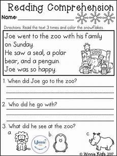 writing comprehension worksheets for grade 3 22919 kindergarten reading comprehension passages winter with images reading comprehension
