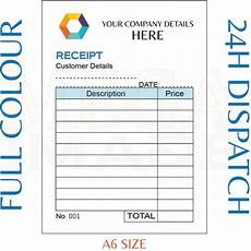 personalised duplicate a6 receipt book pad print ncr invoice order ebay