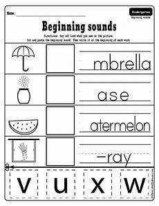 beginning sounds cut and paste worksheets for kindergarten