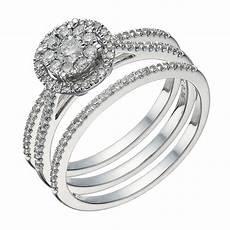 9ct white gold 0 50ct diamond halo bridal ring