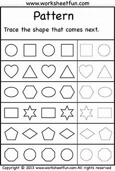 free printable pattern worksheets for preschool patterns trace the shape that comes next 2 worksheets
